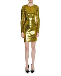 Tom Ford Long Sleeve Round Neck Liquid Sequin Cocktail Dress Yellow Metallic