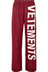 Vetements Printed Cotton Blend Jersey Track Pants Red