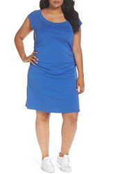 Three Dots Plus Size Women's Side Ruched A Line Jersey Dress Mystic Blue