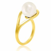 Neola Aurea Gold Ring With White Freshwater Pearl