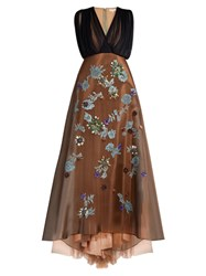 Delpozo Sleeveless Embroidered Silk Blend Tulle Gown Camel