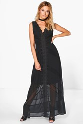 Boohoo Lia Lace Detail Low Back Maxi Dress Black