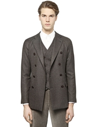 Giorgio Armani Wool Blend Tweed Jacket Brown