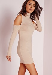 Missguided Roll Neck Cold Shoulder Bodycon Dress Nude Beige