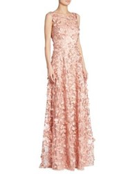 David Meister Appliqued A Line Gown Pink