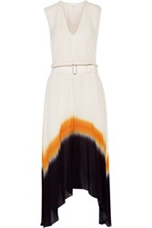 A.L.C. Deloro Asymmetric Pleated Silk Crepe De Chine Midi Dress Off White