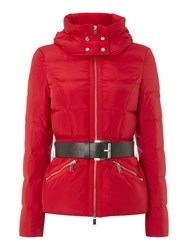 Michael Kors Belted Puffer Jacket Red