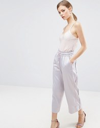 Asos Wide Leg Trousers With Piping Lilac Multi