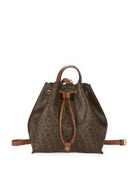 Calvin Klein Faux Leather Monogram Backpack Brown Khaki