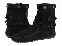 Minnetonka Double Fringe Front Lace Boot Black Suede Women's Lace Up Boots