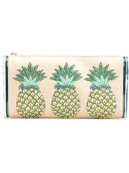 Edie Parker Pineapples Embroidery Clutch Neutrals