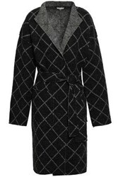 Joie Checked Wool Blend Jacquard Coat Black