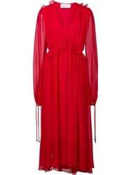 Prabal Gurung V Neck Flounce Dress Red