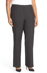 Sejour Plus Size Women's 'Ela' Stretch Curvy Fit Wide Leg Suit Pants Grey Charcoal Heather