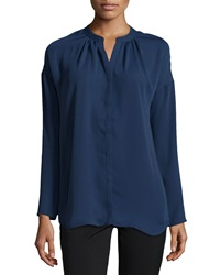 Neiman Marcus Pleated Long Sleeve Dolman Blouse Neat Navy