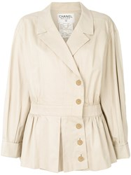 Chanel Vintage 1990 Cropped Trench Coat Nude And Neutrals