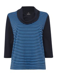 Tigi Cowl Neck Striped Front Jumper Navy