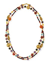Jose And Maria Barrera Gold Plated Ornate Beaded Necklace Black Red