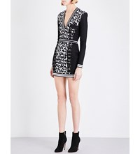 Balmain Leopard Print Knitted Mini Dress Black White