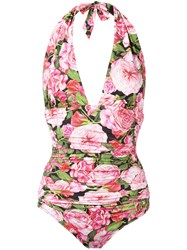 Dolce And Gabbana Rose Pink Print Swimsuit