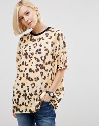 Asos T Shirt In Boxy Fit And Abstract Leopard Print Multi