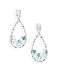 Judith Ripka Gemma Semi Precious Multi Stone And Sterling Silver Drop Earrings Blue
