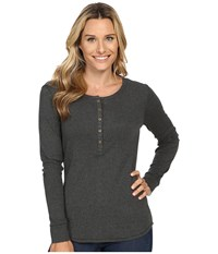 Royal Robbins Kick Back Henley Dark Grey Heather Women's Long Sleeve Pullover Gray
