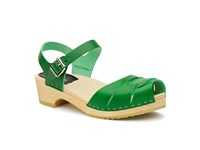 Swedish Hasbeens Peep Toe Low Sandals Green