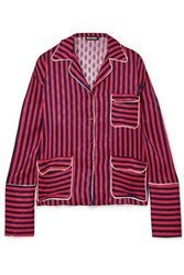 House Of Holland Oversized Striped Flocked Satin Shirt Red