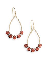 Eva Hanusova Multigem Coco Red Garnet Teardrop Earrings Goldtone