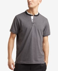 Kenneth Cole Reaction Men's Knit Band Collar T Shirt Charcoal Heather