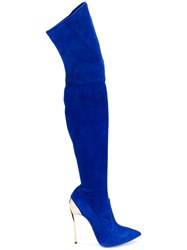 Casadei Thigh High Boots Women Chamois Leather Leather Kid Leather 36 Blue