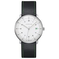 Junghans 041 4811.00 Unisex Max Bill Edition 2018 Date Leather Strap Watch Black White