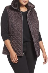 Andrew Marc New York Plus Size Women's Caitlin Quilted Vest Gunmetal