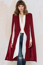 Nasty Gal Lavish Alice On The Fly Cape Jacket Burgundy