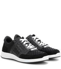 Bottega Veneta Intrecciato Leather And Suede Sneakers Black