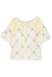 Innika Choo Oliver Smocked Embroidered Linen Top Cream
