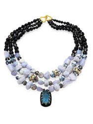 Alexis Bittar Elements Lace Agate And Crystal Three Strand Necklace Blue Agate