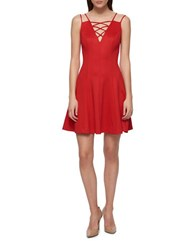 Guess Embossed Chevron Dress Hot Red