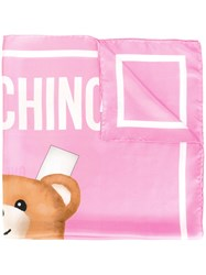 Moschino Toy Bear Paper Cut Out Scarf Pink Purple