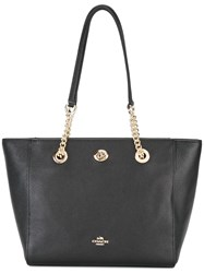 Coach Turnlock Chain Tote Black