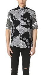 Mcq By Alexander Mcqueen Short Sleeve Sheehan Shirt Black Scarf Paisley