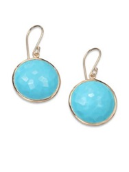 Ippolita Lollipop Turquoise And 18K Yellow Gold Large Drop Earrings Turquoise Gold