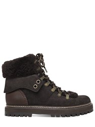 See By Chloe 20Mm Suede And Shearling Hiking Boots Anthracite