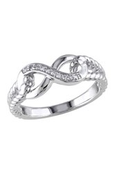 Sterling Silver Diamond Love Knot Ring 0.05 Ctw Metallic