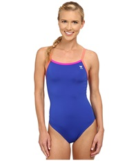 Tyr Solid Brites Diamondfit Royal Fuchsia Coral Women's Swimsuits One Piece Blue