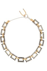 Finds Nico Enameled Rhodium Plated And Gold Plated Necklace Metallic