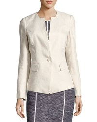 Lafayette 148 New York Lynn Blazer Jacket W Inverted Lapels Sand