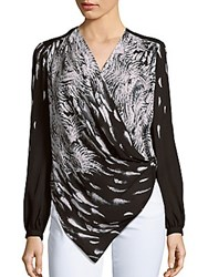 Haute Hippie Draped Crossover Feather Print Top