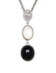 Lord And Taylor Onyx Opal Diamond And Sterling Silver Pendant Necklace